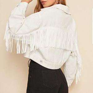 Jackets & Blazers - ●BACK● NEW WHITE WASH FRINGE DETAIL DENIM JACKET